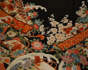SALE Antique Susohiki GEISHA Pre-WWII 5 Crested Autumn Hikizuri Kimono