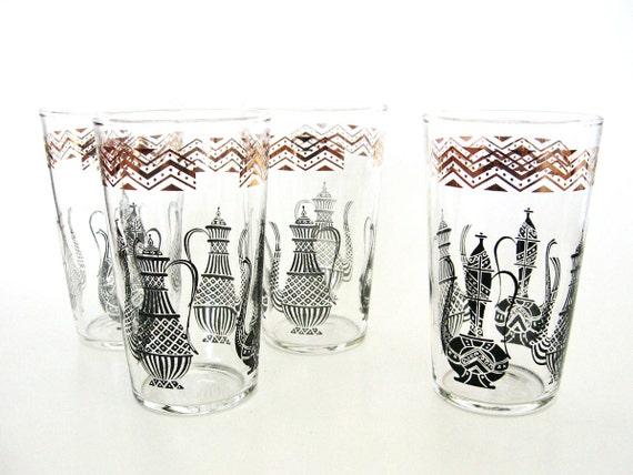 Art Deco Drinks Glasses Turkish Coffee Pot Tumblers Black Gold Glass