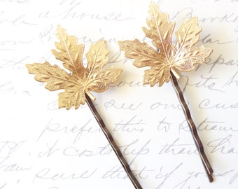 Gold Leaf Hair Pin - Maple Leaf Bobby Pin - Woodland Collection - Whimsical - Nature - Bridal
