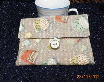 Tea Wallet Cozy in Tan Background with Words and Tea Bags/House Warming Gift/Kitchen Decor/ Hostess Gift/Home Decor/Tea Bags Print