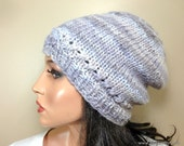 Baby Alpaca Knit Hat Beanie Multicolor Lavender Purple Gray Custom Made for Women Ladies Girls Teens Young Adult // Color H16