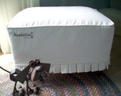 Ottoman Slipcover Knife Pleats Washable Canvas Slipcover Seat Cover