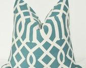Decorative Pillow, Throw Pillow, Accent Pillow, Toss Pillow, Pillow Cover, Blue Fretwork, Blue Trellis, 20x20 inch, Peacock Blue, Home Decor