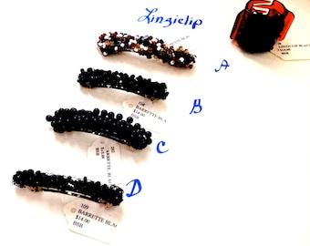 Black Hair Barrettes,  Beaded Barrettes, Beaded Hair Accessories, Girls Hair Accessory, Girls Hair Clip