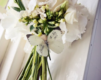 Bridal Bouquet Silk Butterfly Clip with Swarovski Crystal and personalised with dates or names