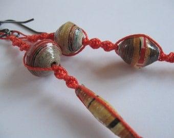 Bohemian Asymmetrical Macrame and Recycled Paper Bead Earrings by Allekram Designs