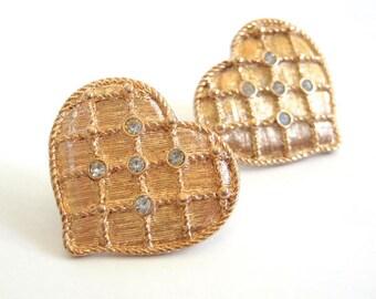 Vintage 80's Avon // Gold Rhinestone Heart Earrings