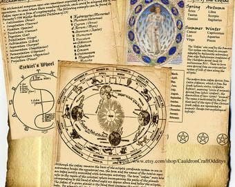 Digital Download Book of Shadows 3 Page Set - The Zodiac - Ceremonial Magick, Alchemy, Biblical associations
