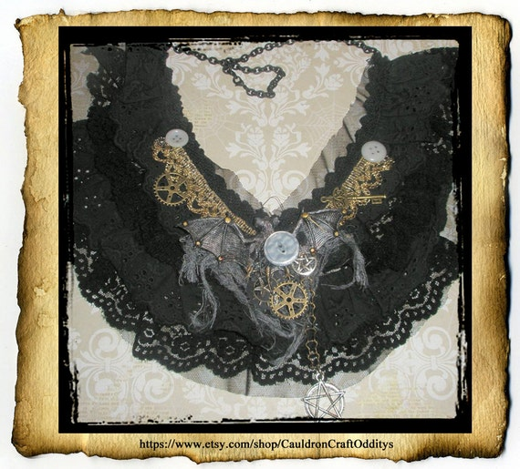 Tattered Steampunk Bat Pentacle Black Lace Collar - one of a kind necklace