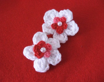 Crochet Flower Hair Clips, Toddlers Babies, Valentine Hair Accessory, Red and White Clippies,Toddler Hair Accessories, Flower Hair Clips