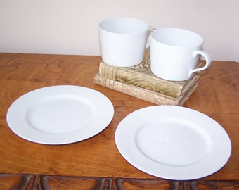 White Cups Plates, Lisboa-White, Block China, Cup Saucer, White China, Block Spal, Portugal, Classic Cup, Bread Butter Plates
