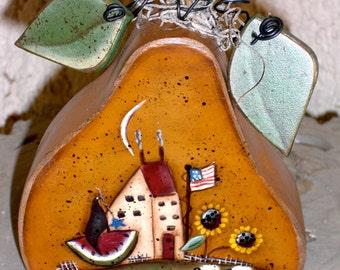 Americana Pear with Folkart house, flag and watermelon shelf sitter
