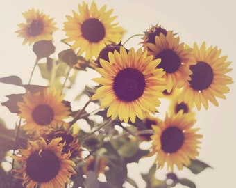 Sunflower Photo, Rustic Photograph, Yellow Flowers, Kitchen Decor, Cheerful, Vintage Style, Shabby Chic, Country Decor, Fine Art Print