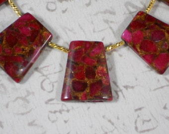 5 Awesome Beads Ruby Red Gold Quartz Pyrite Trapezoid Top Drilled (5237)
