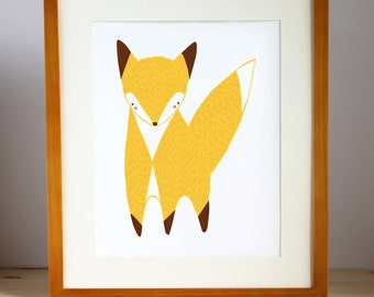 Fox Print, Fox Wall Art, Fox Illustration, Woodland Fox, Fox Nursery Decor, Fox Childrens Art, Fox Gift, Nursery Art, Fox Art