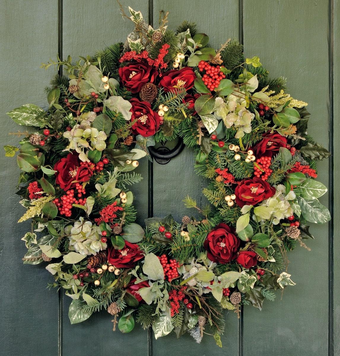 Elegant Christmas Hydrangea Rose and Pine Christmas Wreath