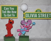 Sesame Street Signs with Lamppost . SETof 2 . Elmo and Abby . Can you tell me how to get to Sesame Street