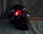 Awesome Black Light Up Ceramic Human Skull / Skulls new Red light