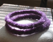 New Skinny Width Two Felted Purple bangle bracelets
