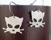 Outlaw Kitty Stainless Steel Earrings by WATTO Distinctive Metal Wear, Cat Earrings, Kitty Earrings, Cat Skull Crossbone, Stainless Steel