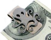 Outlaw Octopus Money Clips For Men Gift for Best Man, Groomsmen Gift - Steampunk Money Clip - Minimalist Wallet