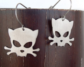 Outlaw Kitty Stainless Steel Earrings by WATTO Distinctive Metal Wear, Cat Earrings for Cat Lovers with Titanium Earwires