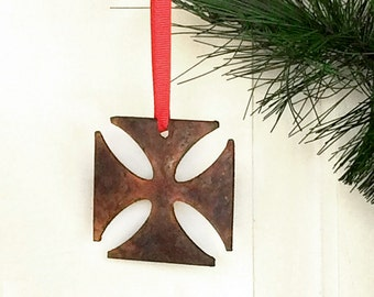 Rustic Iron Cross Metal Ornament by WATTO Distinctive Metal Wear / Gift for Biker / Chopper Ornament / Christmas Ornament/ Gift for Man