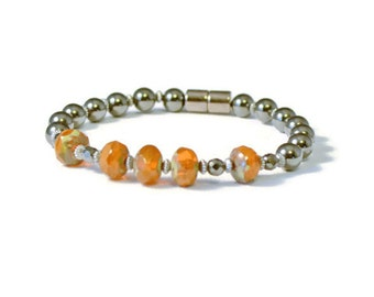 Magnetic Therapy Bracelet, Czech Glass & Black Hematite, Holistic Jewelry