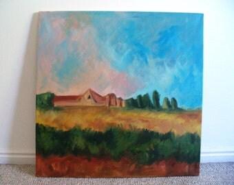 Large Painting Barn Farm Landscape Iowa Kansas Original Oil Art