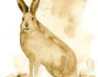 JACKRABBIT Original watercolor painting 8x10inch(Vertical orientation)