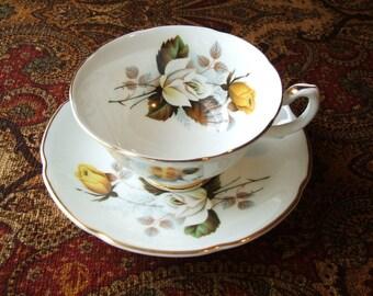 BEAUTIFUL  Royal Grafton Vintage Teacup & Saucer Set, Circa 1950's, Fine English Bone China, Large Open Bowl