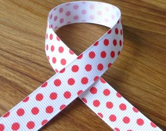 free shipping in UK - 3 meters grosgrain red spots ribbon 16 mm