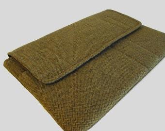 Laptop Sleeve, Tablet Case, Laptop Cover, Tablet Sleeve, Laptop Case, Tablet Cover, up to 13 Inch - Wool Gold Herringbone