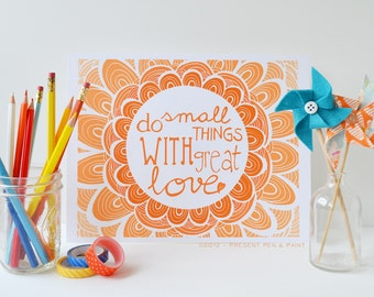 Orange, Nursery Decor, Kids Room, Graduation Gift, Peach Ombre, Mother Teresa, Do Small Things With Great Love, Inspiring Quote