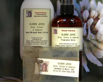 CLOVER JOYED Soap Gift Set - Scented Aloe, Clover and Jasmine -Spa Set Soap, Lotion & Spray