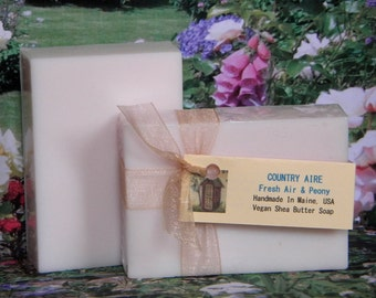 COUNTRY AIRE Fresh Air & Peony Handmade Soap - Peony Scented Soap Bars - Homemade Soap Bars