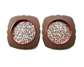 Vintage Japanese Door Pulls Christmas Berry Gold Brown (C17) Set of 2