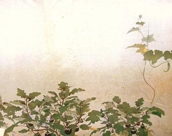 Vintage Japanese Print Morning of a Kitchen Garden Morning Dew.