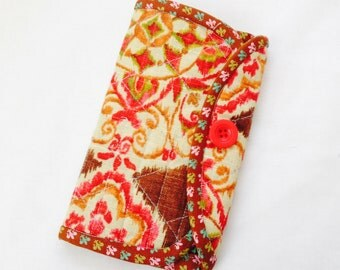 Crochet Hook Case - brown, pink, gold quilted cotton carrying case, tri fold hook storage