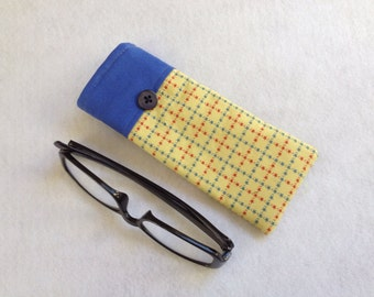 Reading Glasses Case - yellow, red and blue cotton, small, soft eyeglasses sleeve, readers cozy,  travel accessory for purse