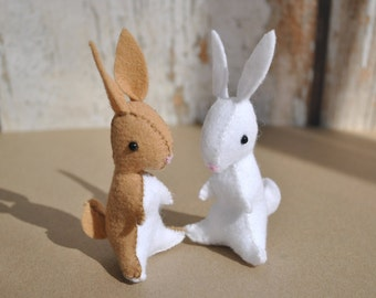 "Waldorf Inspired Felt Bunny Pattern * 4"" Mini Stuffed Bunny Sewing Pattern PDF * Tiny Stuffed Bunnies Felt Animal Pattern *"