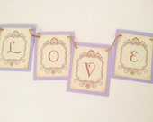 Wedding Banner Party Decoration Bunting Garland Love Lavender Photo Prop