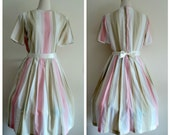 Vintage 1950's Dress // Short Sleeve Pastel Striped Pleated Dress //  Full Skirt