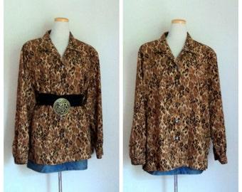 Vintage 1980's Ladies Animal Print Blouse // Long Sleeve Blouse // Leopard Print Blouse Top // Oversized Blouse // Baggy Loose  Plus Size