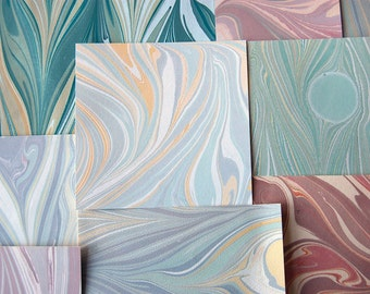 Marbled Paper Remnants - Assortment of Cool Shades