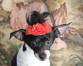 Cute red   color  mini  hat with   feather and flower  for dog or cat