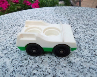 Vintage Little People White and Green Family Car