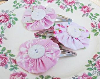 SALE Yoyo Snap Clip Hair Set Pink White Fabric Flowers Damask Tanya Whelan Dena Designs Suffolk Puffs Blush For Her Handmade Girls Kids
