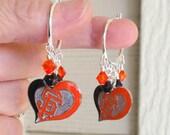 SF Giants Earrings, My Hearts In San Francisco Orange and Black Crystal Heart Charm Pro Baseball Hoop Earrings, Giants Accessory