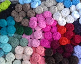 Wholesale 70 fabric rosettes- YOU PICK your colors...